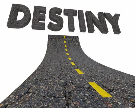 Destiny Fate End Result Outcome Road Word 3d Illustration Banco de Imagens