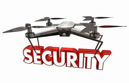 occupation: Security Surveillance Crime Prevention Drone Flying Carrying Word 3d Illustration