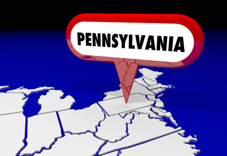 Pennsylvania PA State Map Pin Location Destination 3d Illustration