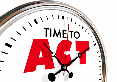 Time to Act Take Action Move Forward Clock Hands Ticking 3d Illustration Banco de Imagens
