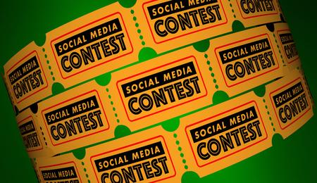 소셜 미디어 경연 대회 네트워크 연결 티켓 3D 그림