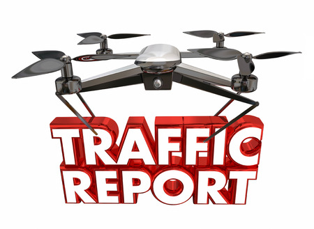 Traffic Report Remote Live Update Drone Flying Carrying Words 3d Illustration