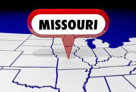 navigating: Missouri MO State Map Pin Location Destination 3d Illustration Stock Photo