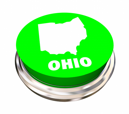 Ohio OH State Button Best Location Choice 3d Illustration