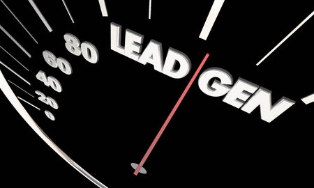 accelerating: Lead Gen Customers Prospects Speedometer Measure Results 3d Illustration