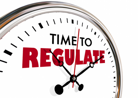 Time to Regulate Enforce Rules Control Clock Hands Ticking 3d Illustration