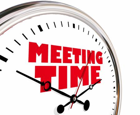会議時間予定共同討議時計の針 3 d イラストレーションを刻 々 と過ぎ