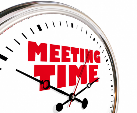 Meeting Time Appointment Joint Discussion Clock Hands Ticking 3d Illustration Banco de Imagens - 83972369