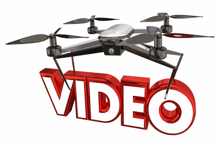 Video Photography Shoot Footage Drone Flying Carrying Word 3d Illustration Stock Photo