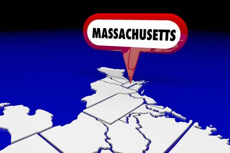 map pin: Massachusetts MA State Map Pin Location Destination 3d Illustration Stock Photo