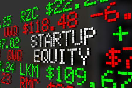 Startup Equity Stock Options Ticker Prices 3d Illustration Zdjęcie Seryjne