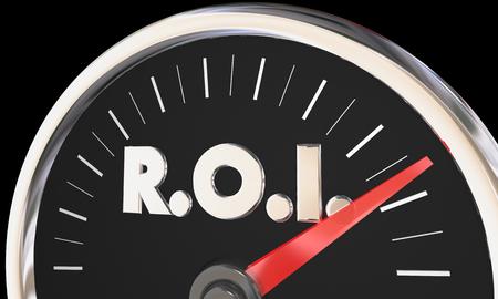 投資収益率 ROI 液面計スピード メーター 3 d イラストレーション