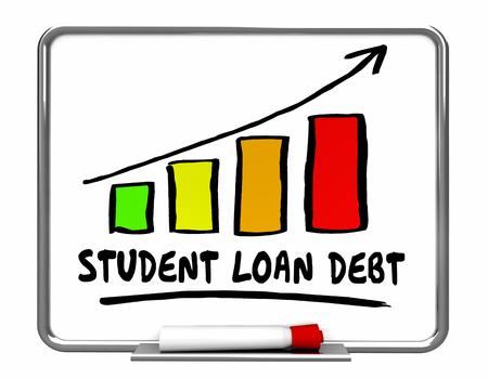 borrowing: Student Loan Debt Rising Increase Bar Chart 3d Illustration