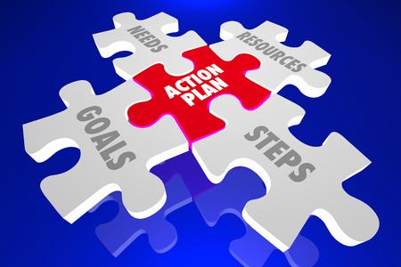Actieplan Stappen Doelen Hulpmiddelen Puzzelstukken 3d illustratie