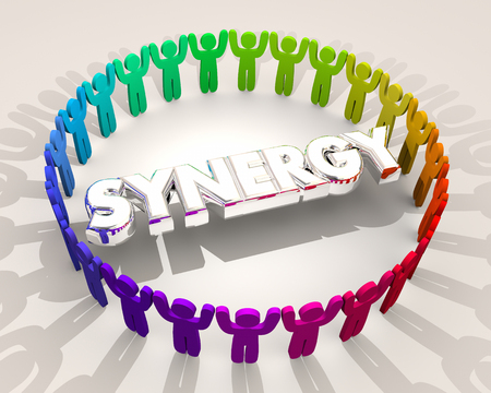 Synergy People Circle Working Together 3d Illustration Stock Photo