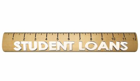 borrowing: Student Loans Ruler Tuition Borrow Money 3d Illustration