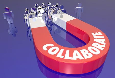 Samenwerken Magneet Samenwerken Teamwork 3D Illustratie Stockfoto