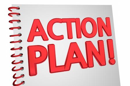 Actieplan Strategie Boekdocument 3D Illustratie