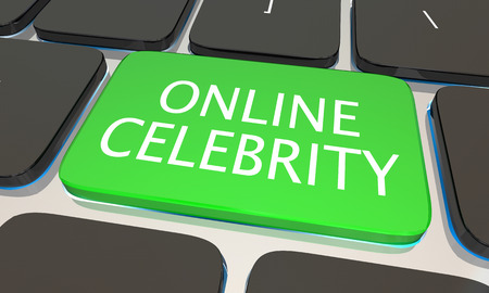 notoriety: Online Celebrity Internet Website Fame Fortune Keyboard 3d Illustration