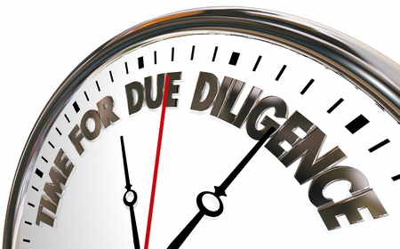 Time for Due Diligence Clock 3d Illustration Stock Photo
