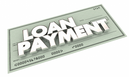 relieve: Loan Payment Check Pay Off Mortgage Debt 3d Illustration Stock Photo