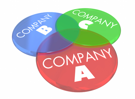 shared sharing: Company A B C Venn Diagram Overlapping Circles 3d Illustration