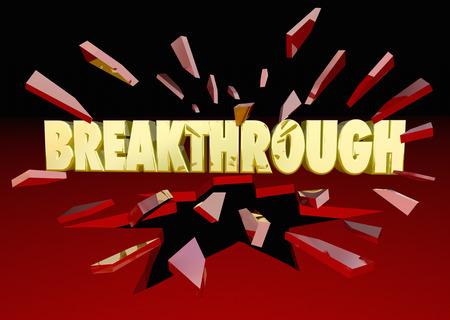 breaking: Breakthrough Words Breaking Thru Glass 3d Illustration Stock Photo