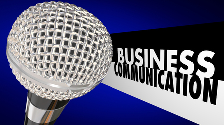 Business Communication Microphone Words 3d Illustration Stock Photo
