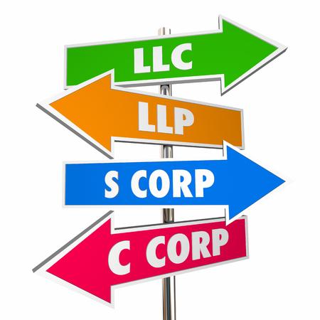 LLC LLP SC Corp Nuevo negocio signos opciones Ilustración 3d