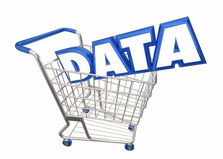 Data Shopping Cart Buy Information Facts 3d Illustration Stok Fotoğraf