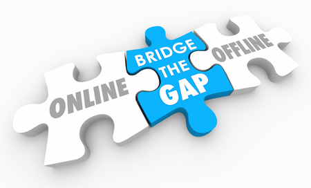 Bridge Gap Between Offline Online Data Service 3d Illustration Stock fotó - 84272983
