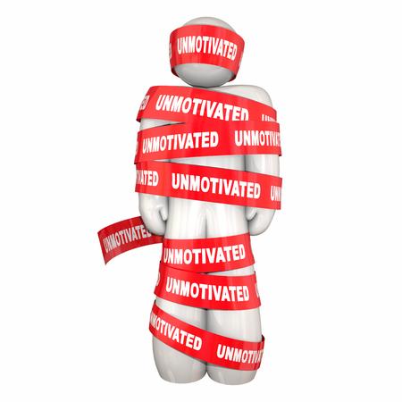 man: Unmotivated Lazy Bad Attitude Man Wrapped Tape 3d Illustration Stock Photo