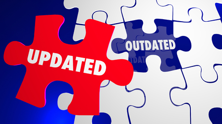 technology: Updated Vs Outdated Puzzle Pieces Updating New 3d Illustration