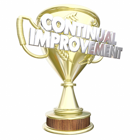 Continual Improvement Trophy Award Prize 3d Illustration Stock Photo