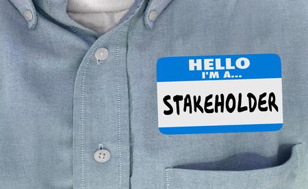 Stakeholder-Namensschild-Aufkleber Hemd 3d Illustration