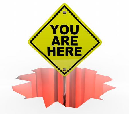 You are Here Sign Hole Trouble Problem 3d Illustration