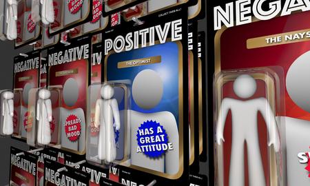긍정적 인 대 부정적 행동 인물 좋은 태도 3d 일러스트 스톡 콘텐츠