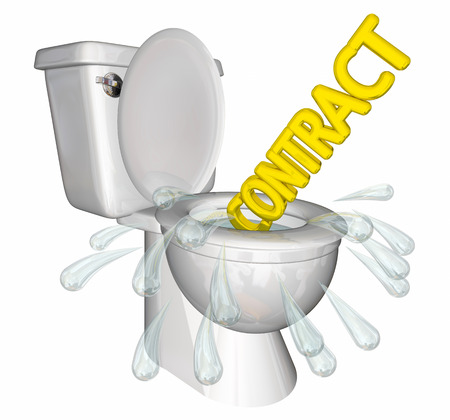 Flushing Contract Agreement Down Toilet 3d Illustration Stock Photo