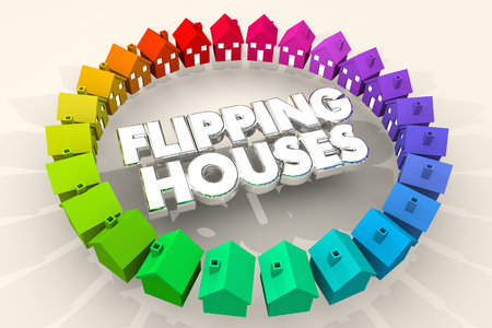 Flipping Houses Homes Resell Real Estate 3d Illustration