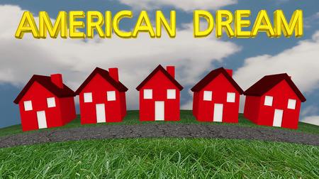 American Dream Home Ownership 3d illustratie van de voorstadswijk