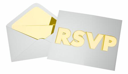 회신 초대장 봉투 이벤트 출석 예약 3d 일러스트 레이션