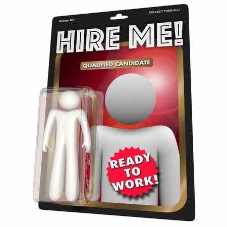 Hire Me Qualified Job Candidate Action Figure Worker 3d Illustration