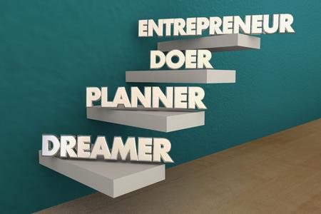 Entrepreneur Dreamer Planner Doer Steps 3d Illustration