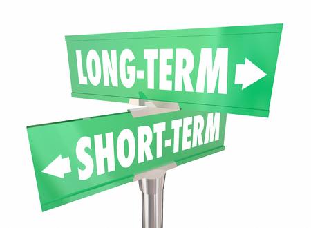 Long Vs Short Term Signs Words Extend Time 3d Illustration Banco de Imagens - 84569801