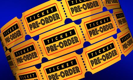 Ticket Pre-Order Early Reservation 3d Illustration