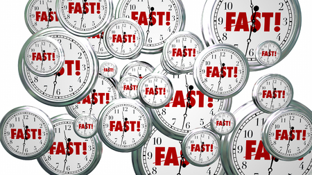 Fast Time Clocks Flying Speed Service 3d Illustration Stock Photo