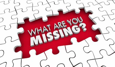 Wat mis je puzzelvraag Missende behoeften 3d illustratie Stockfoto