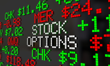 Stock Options Shares Benefits Ticker 3d Illustration
