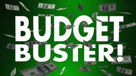 Budget Buster Spending Money Falling Big Expense 3d Illustration