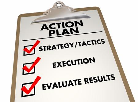 Action Plan Clipboard Checklist Strategy Tactics 3d Illustration Фото со стока